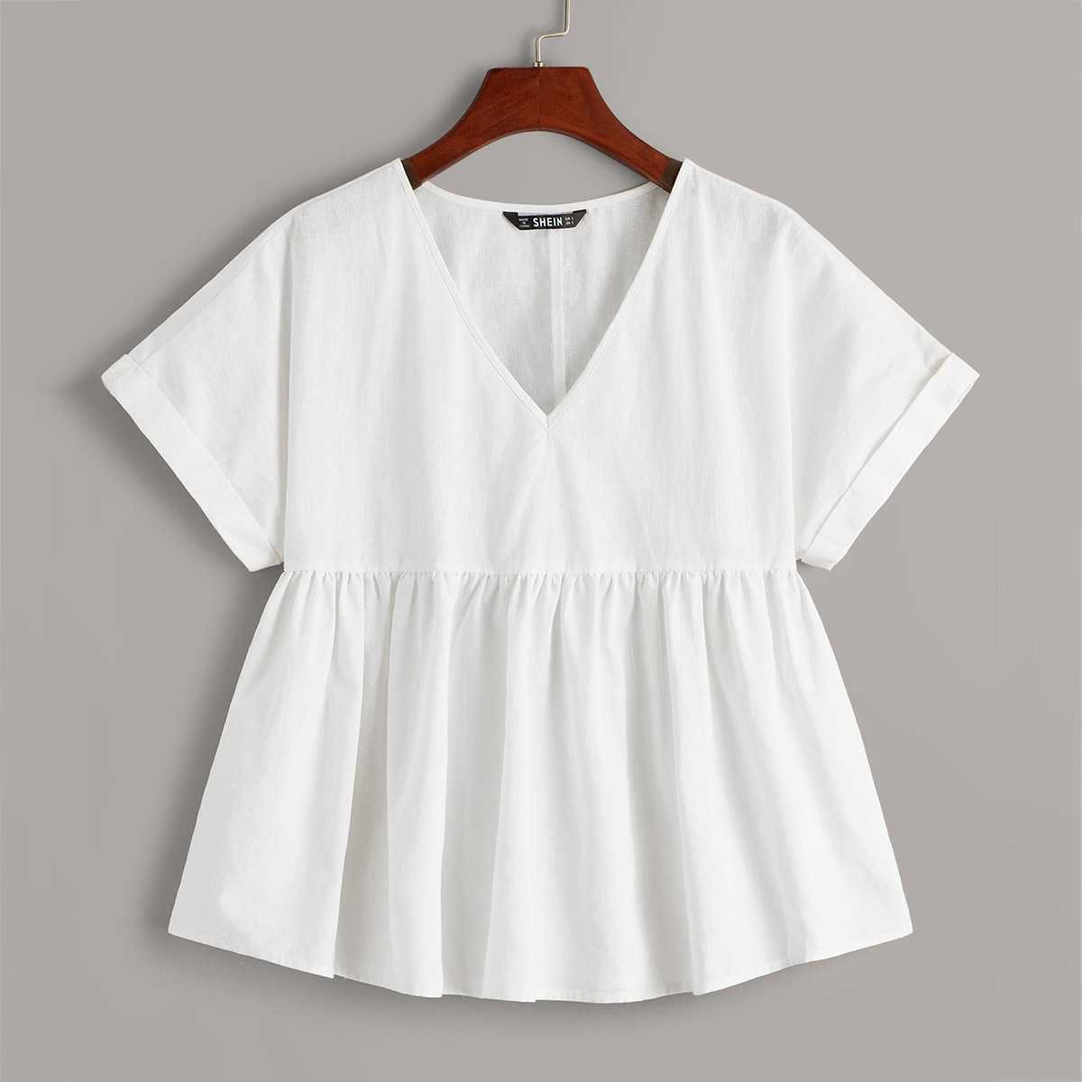 V-neck Rolled Cuff Smocked Blouse in White by ROMWE on GOOFASH