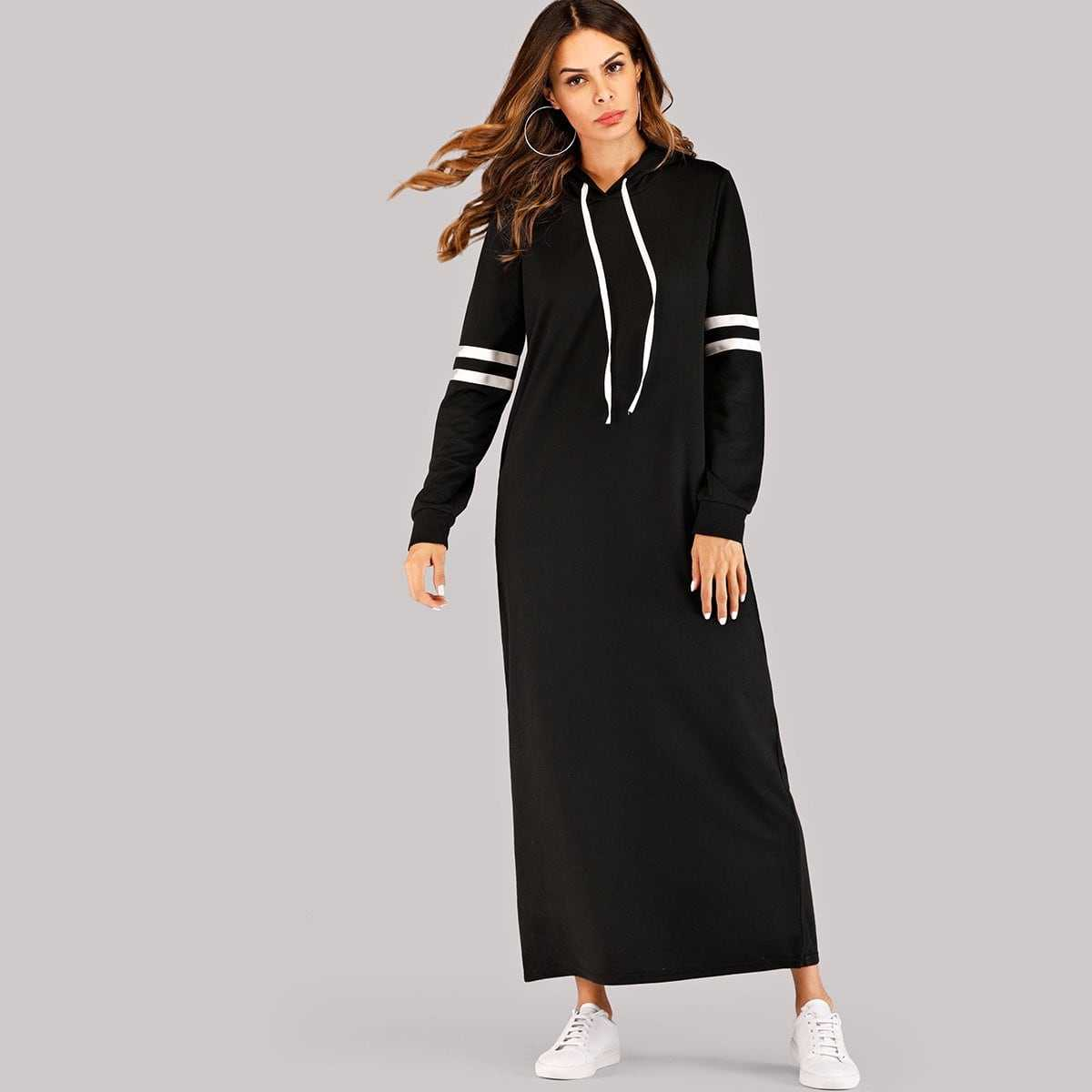 Varsity Striped Hooded Maxi Sweatshirt Dress in Black by ROMWE on GOOFASH