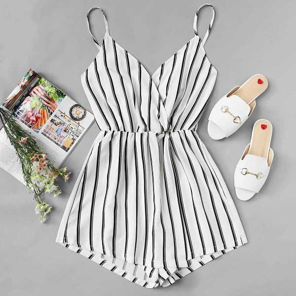 Vertical Striped Cami Romper in Black and White by ROMWE on GOOFASH