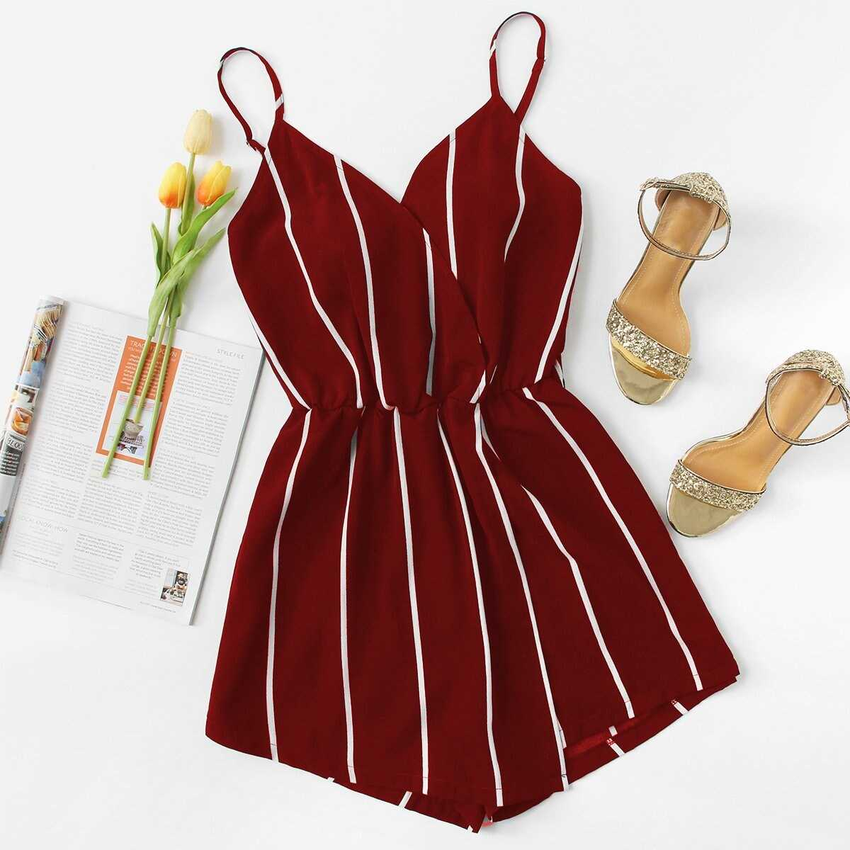 Vertical Striped Cami Romper in Burgundy by ROMWE on GOOFASH