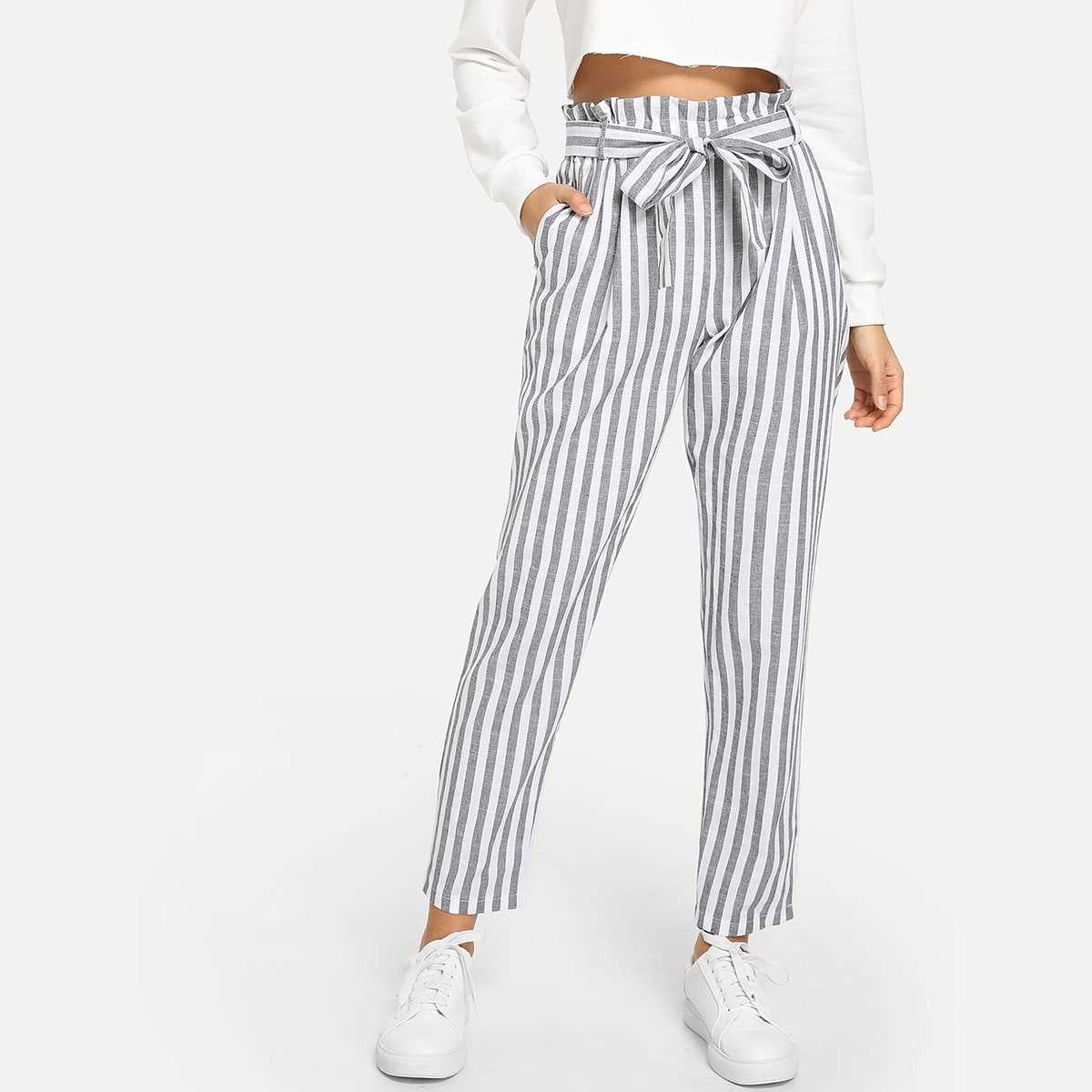 Vertical Striped Frill Belted Pants in Grey by ROMWE on GOOFASH