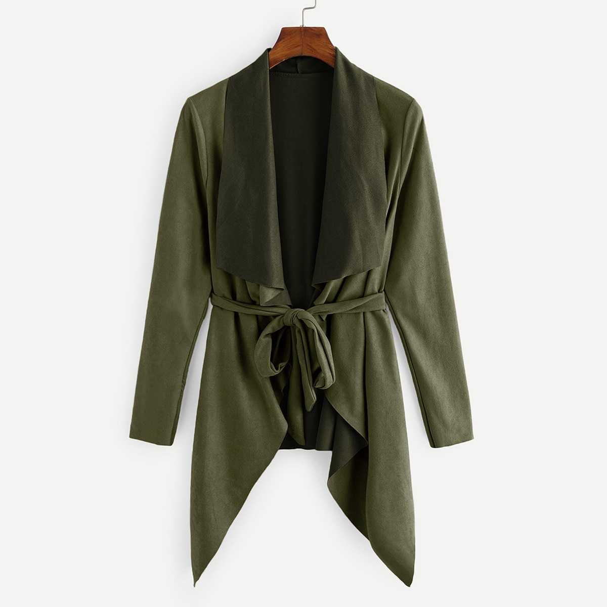 Waterfall Collar Suede Solid Coat in Army Green by ROMWE on GOOFASH