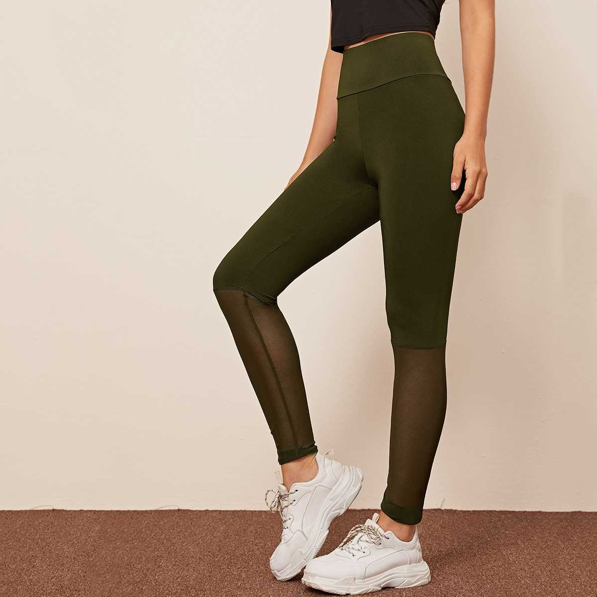 Wide Band Waist Mesh Insert Leggings in Army Green by ROMWE on GOOFASH