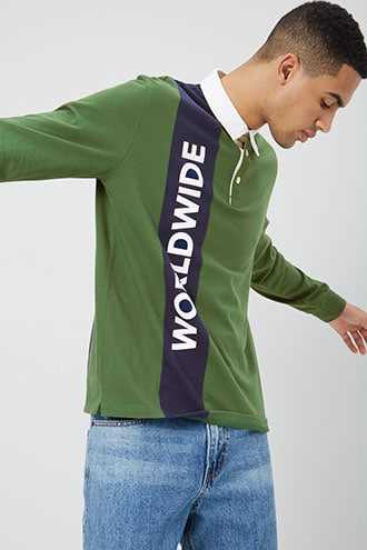 Worldwide Graphic Colorblock Polo at Forever 21  Green/navy - GOOFASH