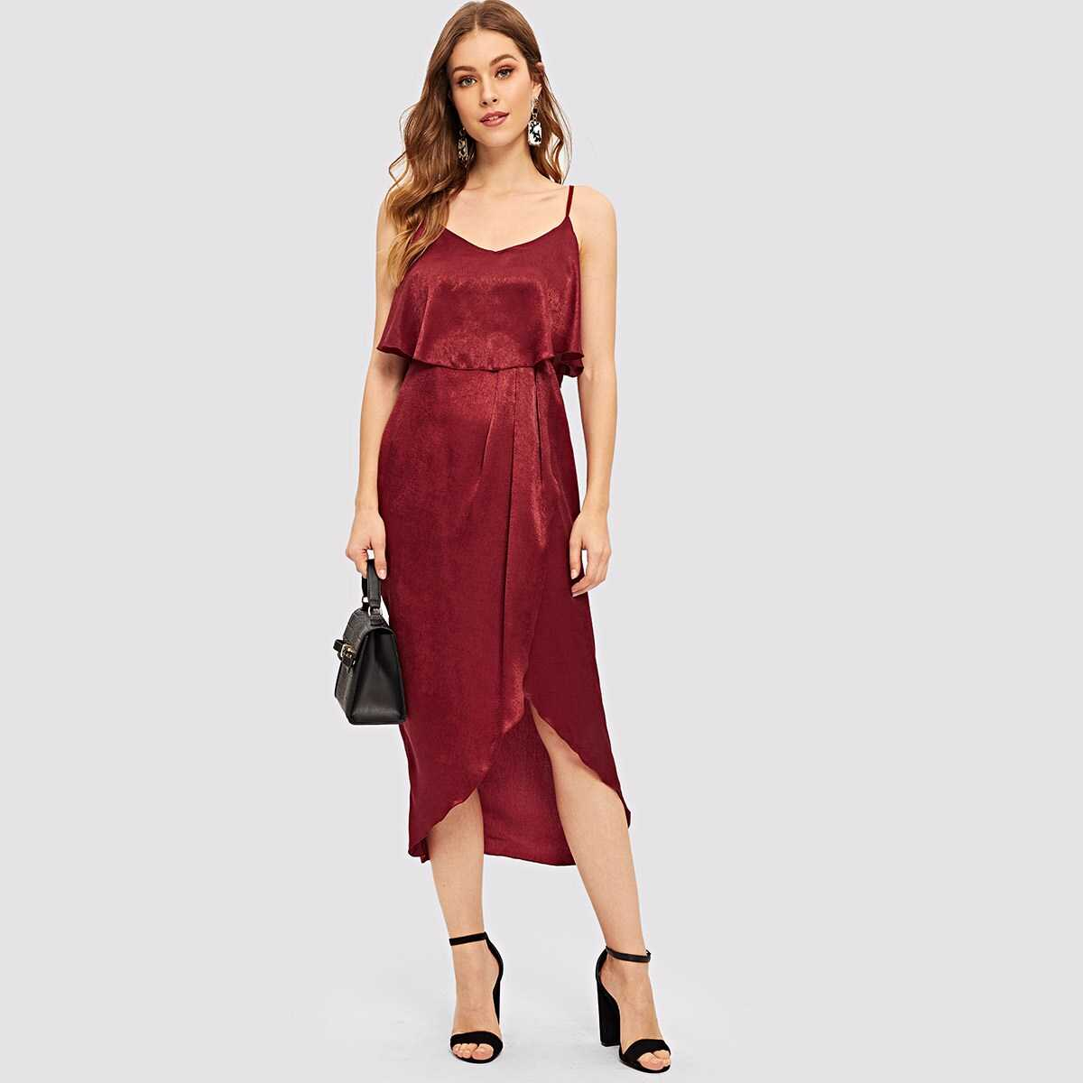 Wrap Asymmetrical Hem Pleated Cami Dress - Shein - GOOFASH