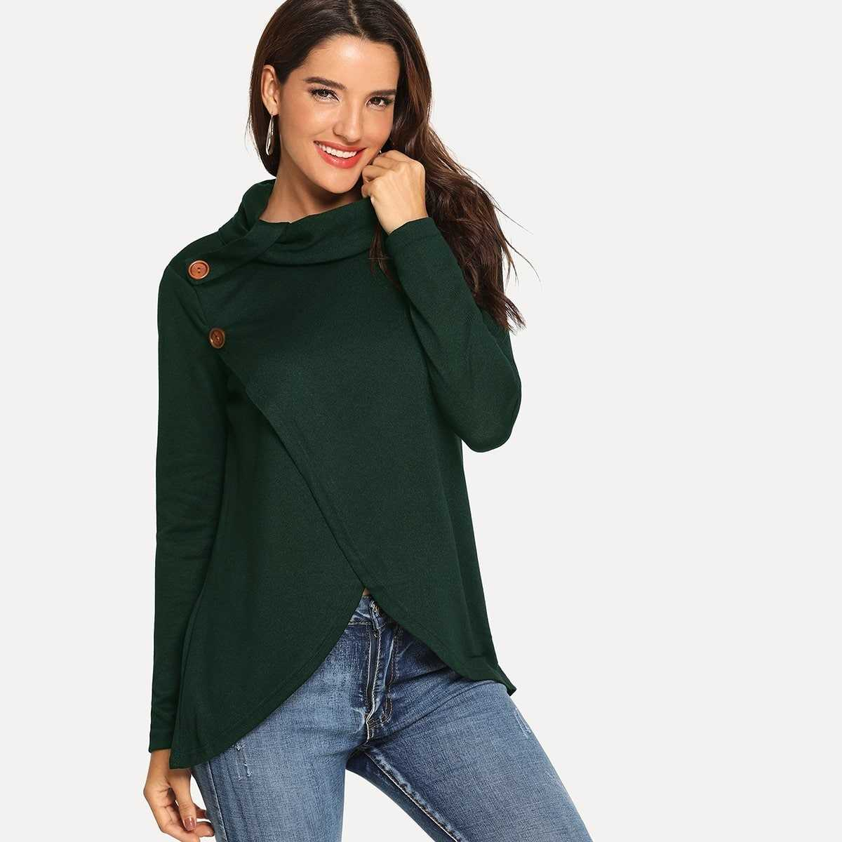 Wrap Detail Button Decoration Sweater in Green by ROMWE on GOOFASH