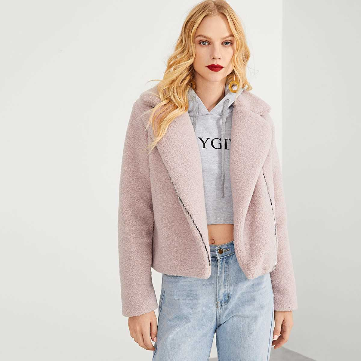 Zip Front Notched Neck Solid Teddy Coat in Pink by ROMWE on GOOFASH