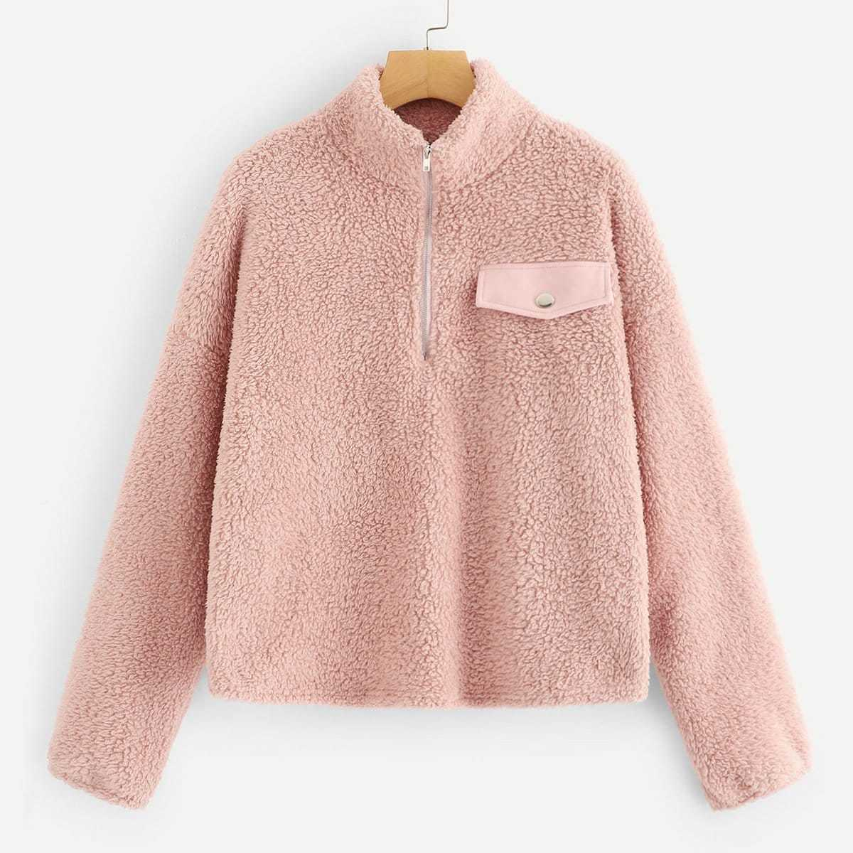 Zip Half Placket Teddy Pullover Jacket in Pink by ROMWE on GOOFASH
