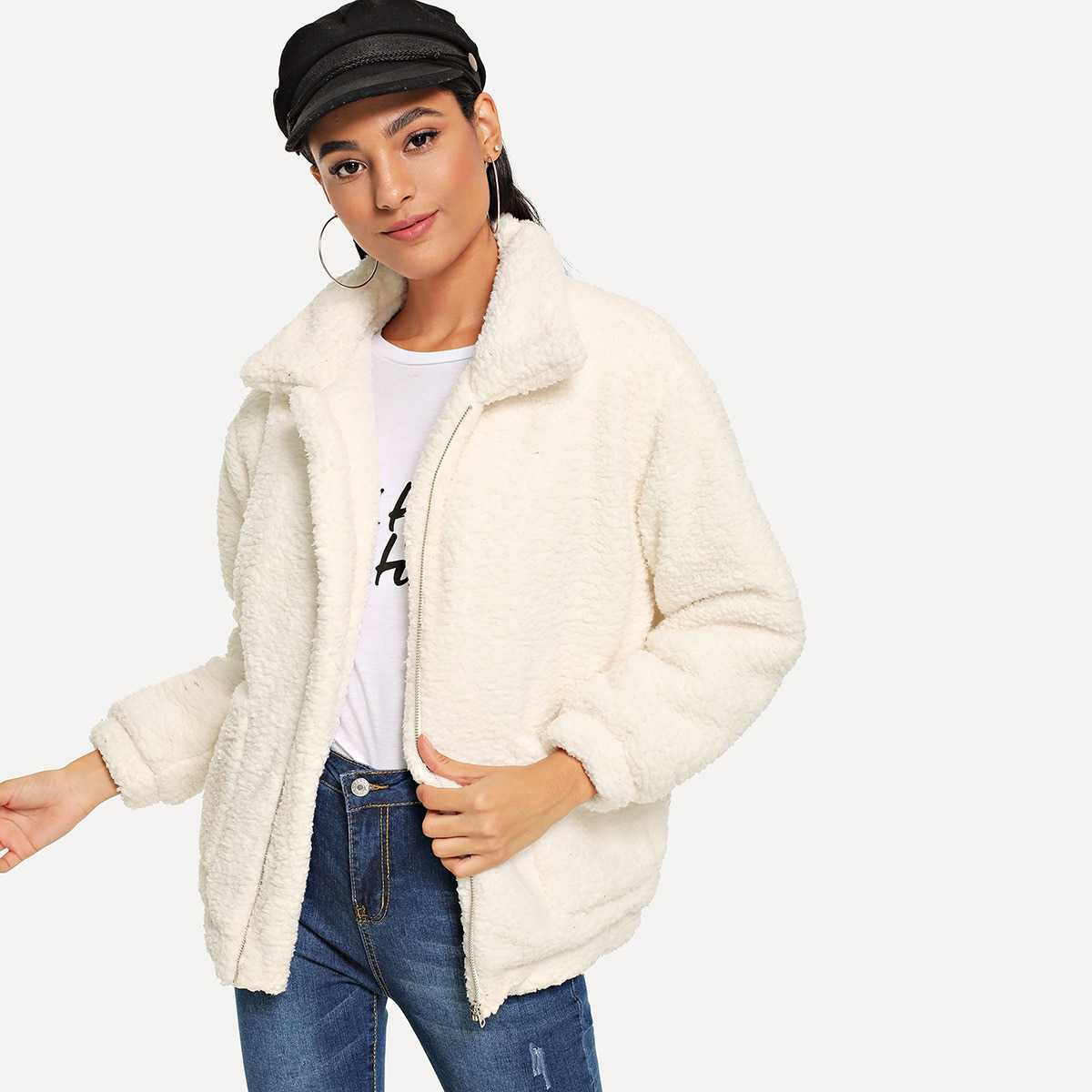 Zip Solid Teddy Jacket in White by ROMWE on GOOFASH