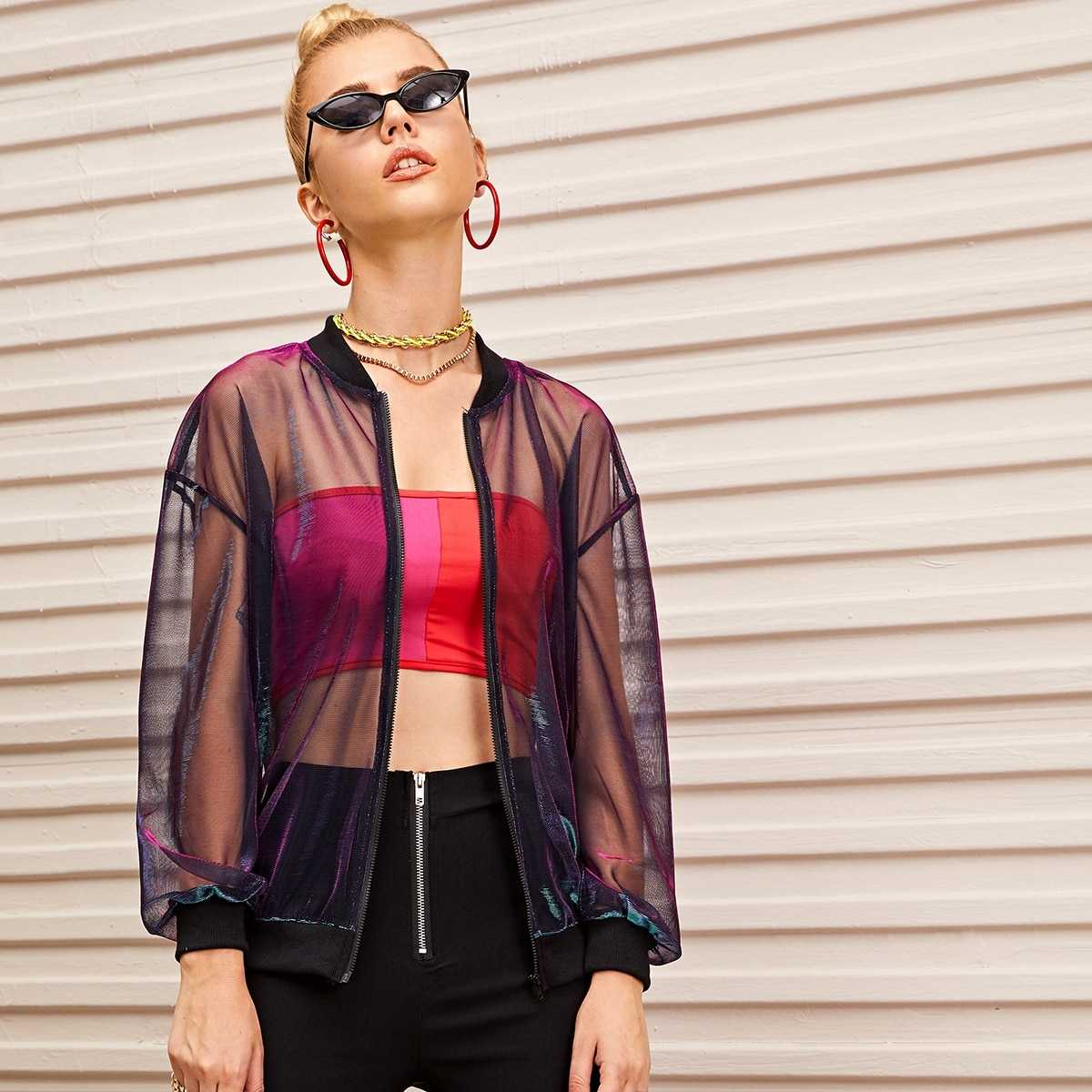 Zip Up Glitter Mesh Bomber Jacket in Multicolor by ROMWE on GOOFASH