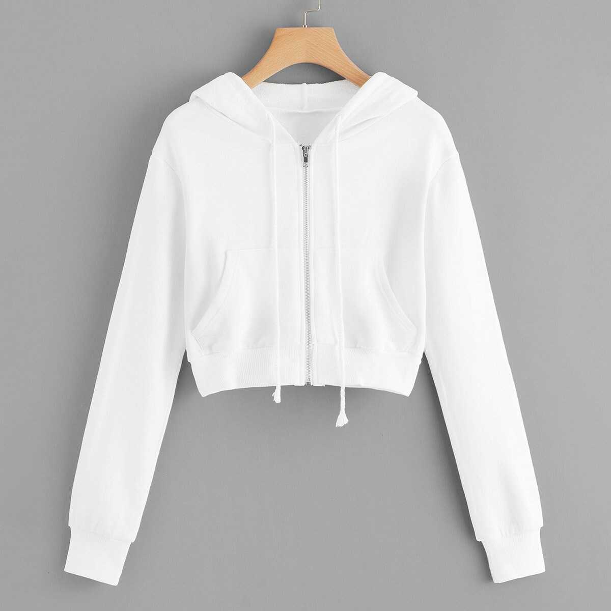 Zip Up Hooded Solid Jacket in White by ROMWE on GOOFASH
