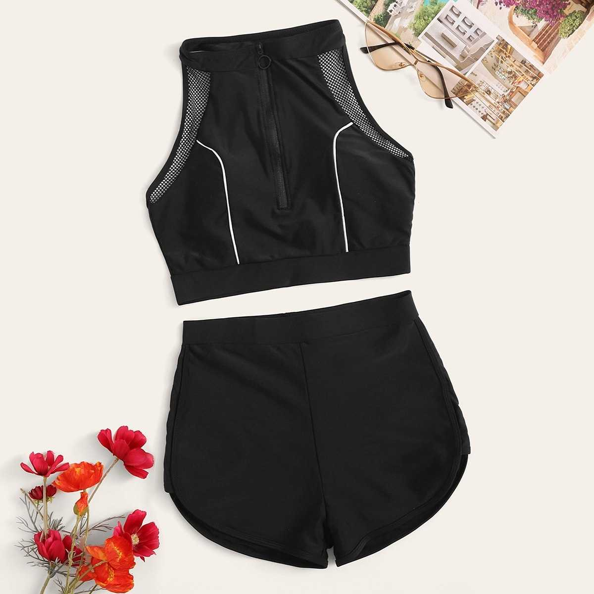 Zipper-up Racerback Top With Shorts 2 Piece Swimsuit in Black by ROMWE on GOOFASH