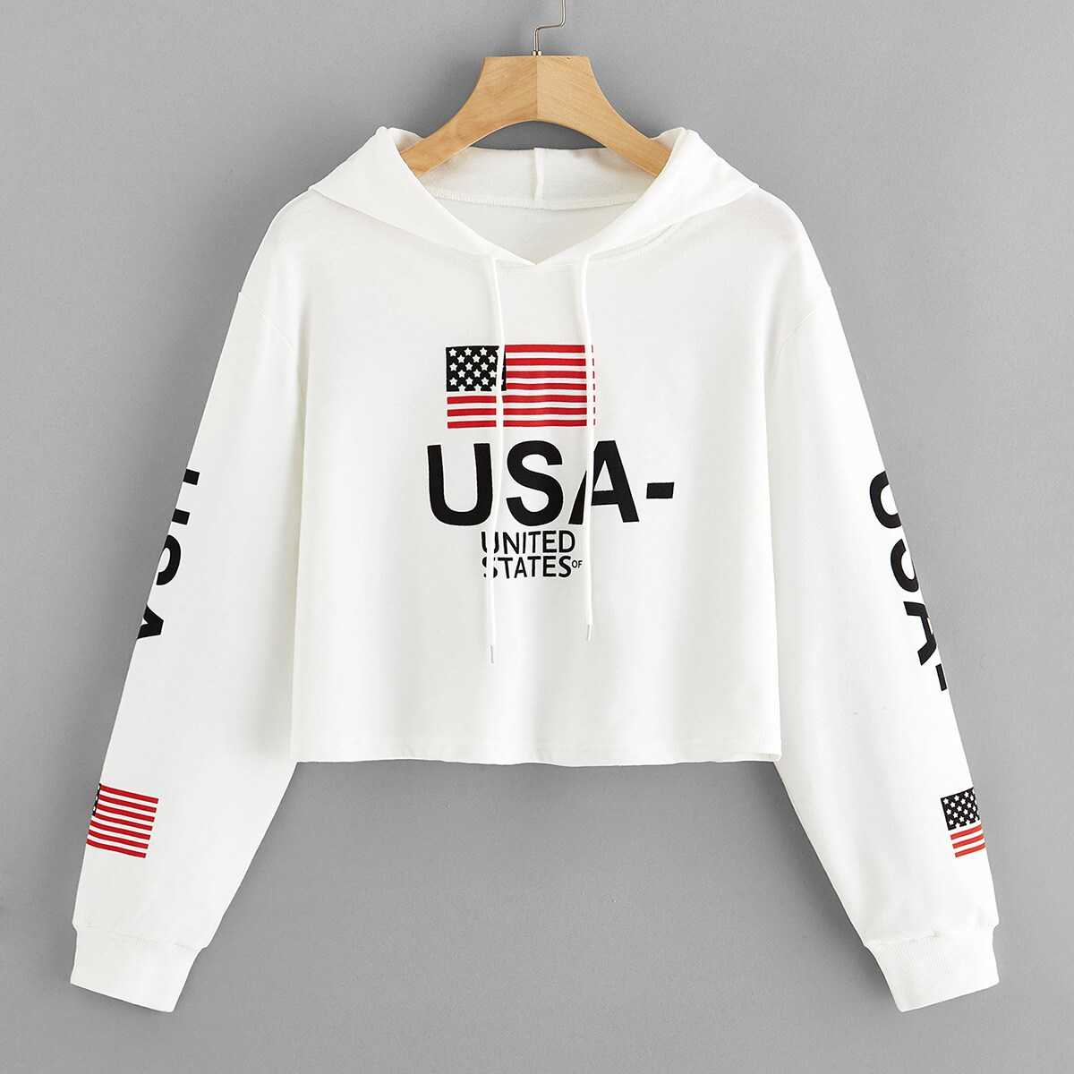 1Plus1 Girls Letter Print Drawstring Crop Hoodie in White by ROMWE on GOOFASH