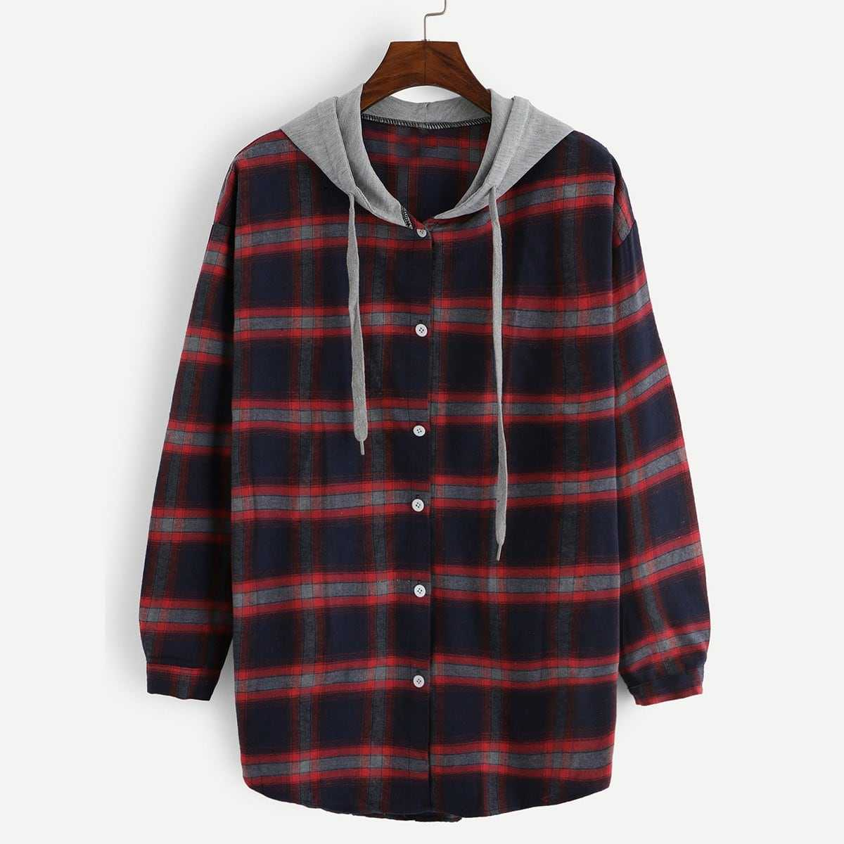 2 In 1 Plaid Hooded Shirt in Multicolor by ROMWE on GOOFASH