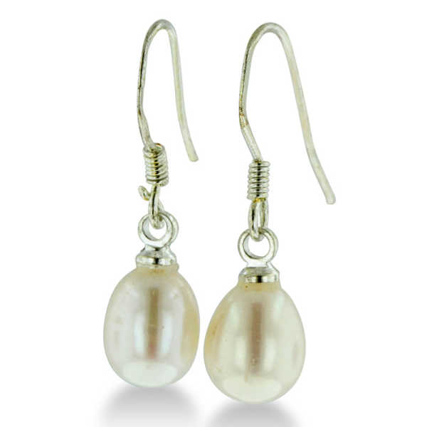 5-6mm Solitaire White Drop Freshwater Pearl Dangle Earrings UK - GOOFASH - Womens JEWELRY