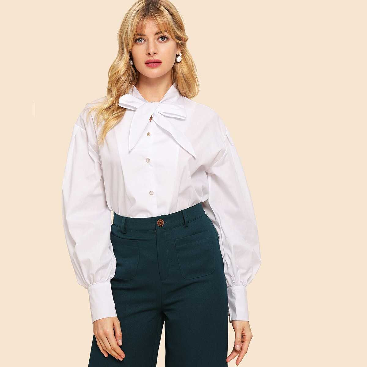 70s Tied Neck Single Breasted Solid Blouse - Shein - GOOFASH
