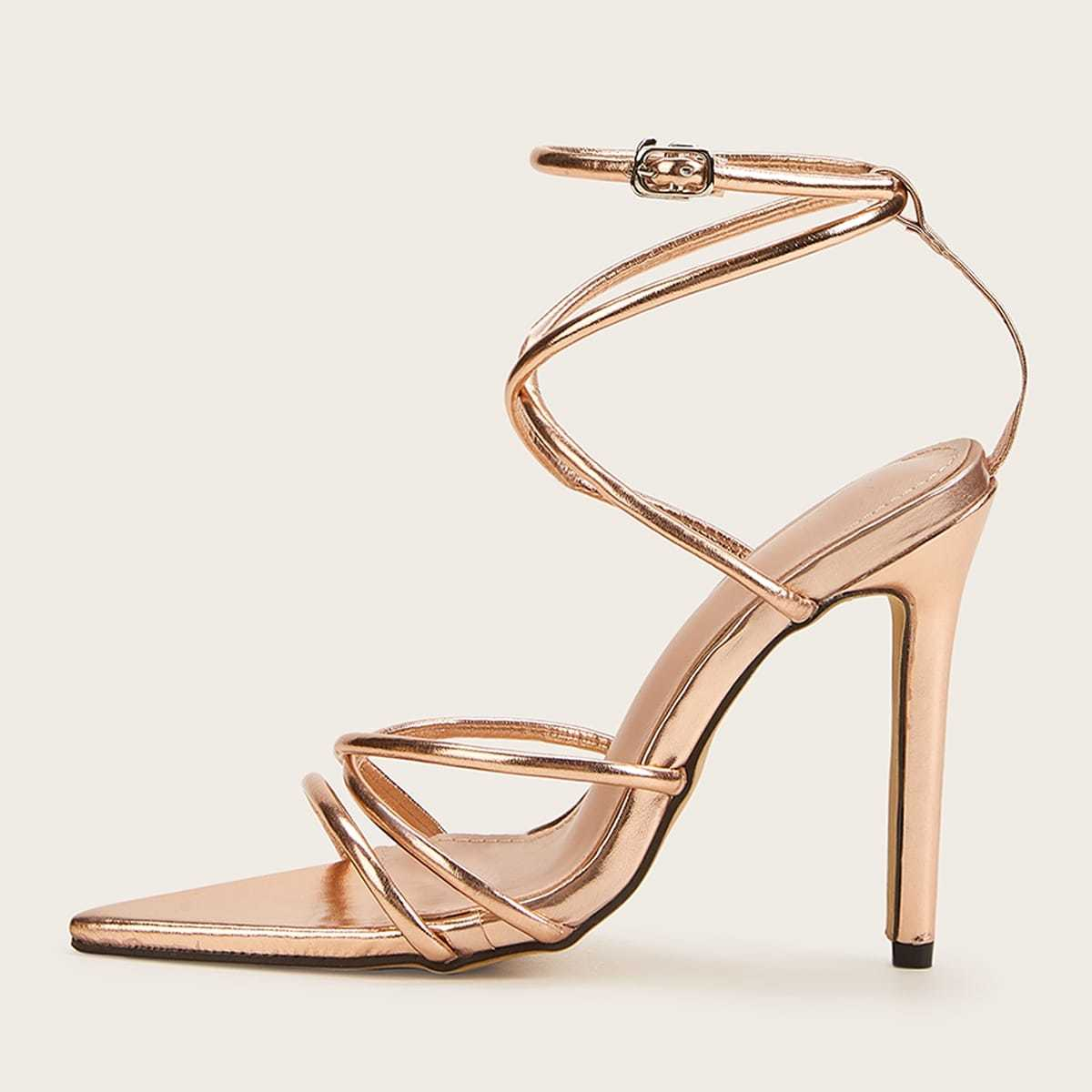 Ankle Strap Strappy Stiletto Heels in Gold by ROMWE on GOOFASH