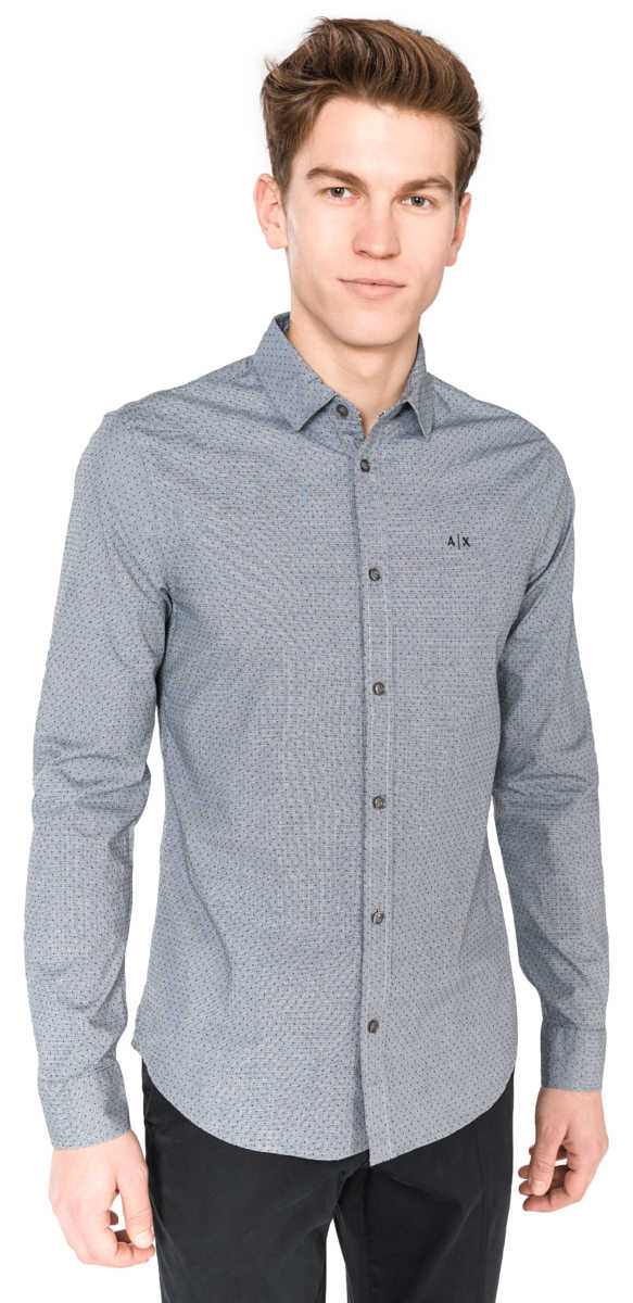 Armani Exchange Shirt Grey UK - GOOFASH