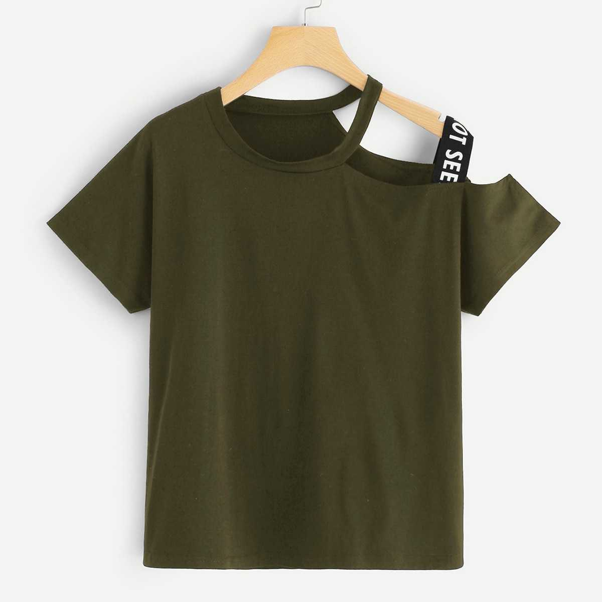Asymmetrical Neck Letter Taped Tee in Army Green by ROMWE on GOOFASH
