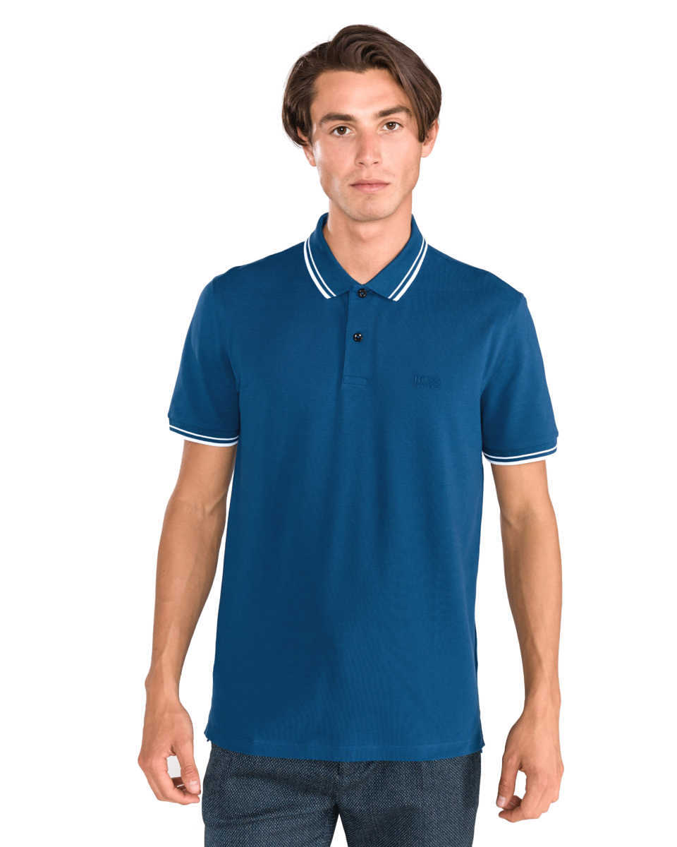 BOSS Hugo Boss Parlay 16 Polo Shirt Blue UK - GOOFASH