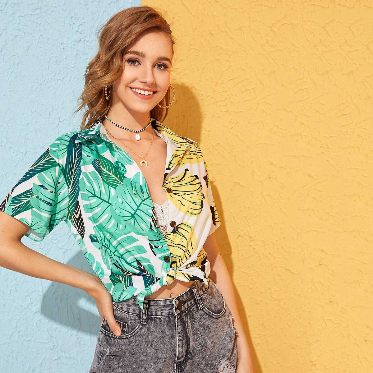 Banana & Tropical Print Blouse in Multicolor by ROMWE on GOOFASH