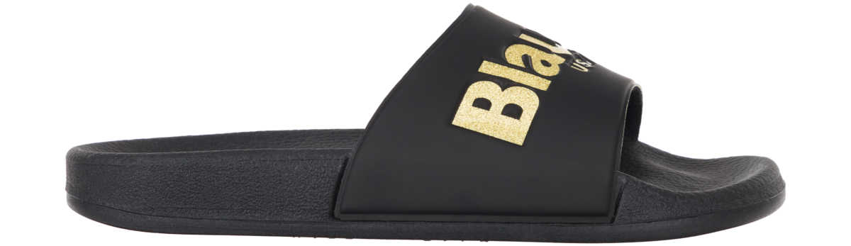 Blauer Palm Slippers Black Gold UK - GOOFASH