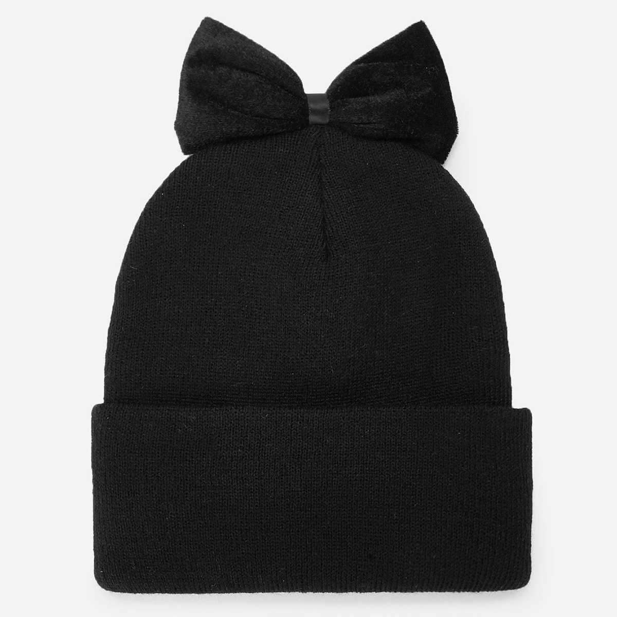 Bow Decorated Beanie in Black by ROMWE on GOOFASH