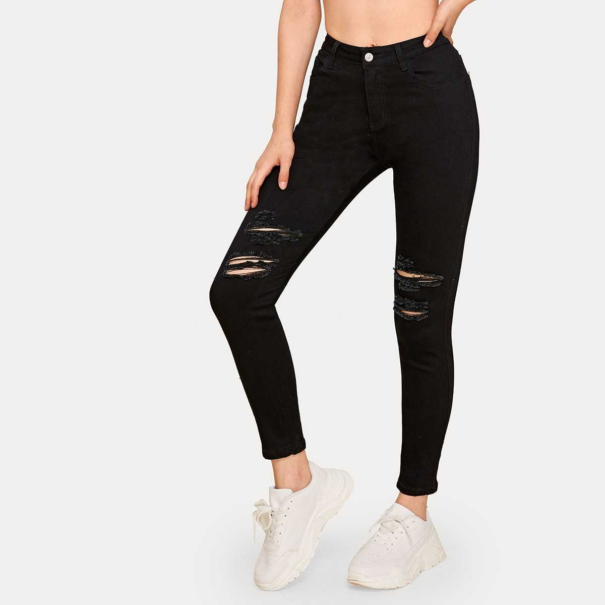 Button Fly Ripped Skinny Jeans in Black by ROMWE on GOOFASH