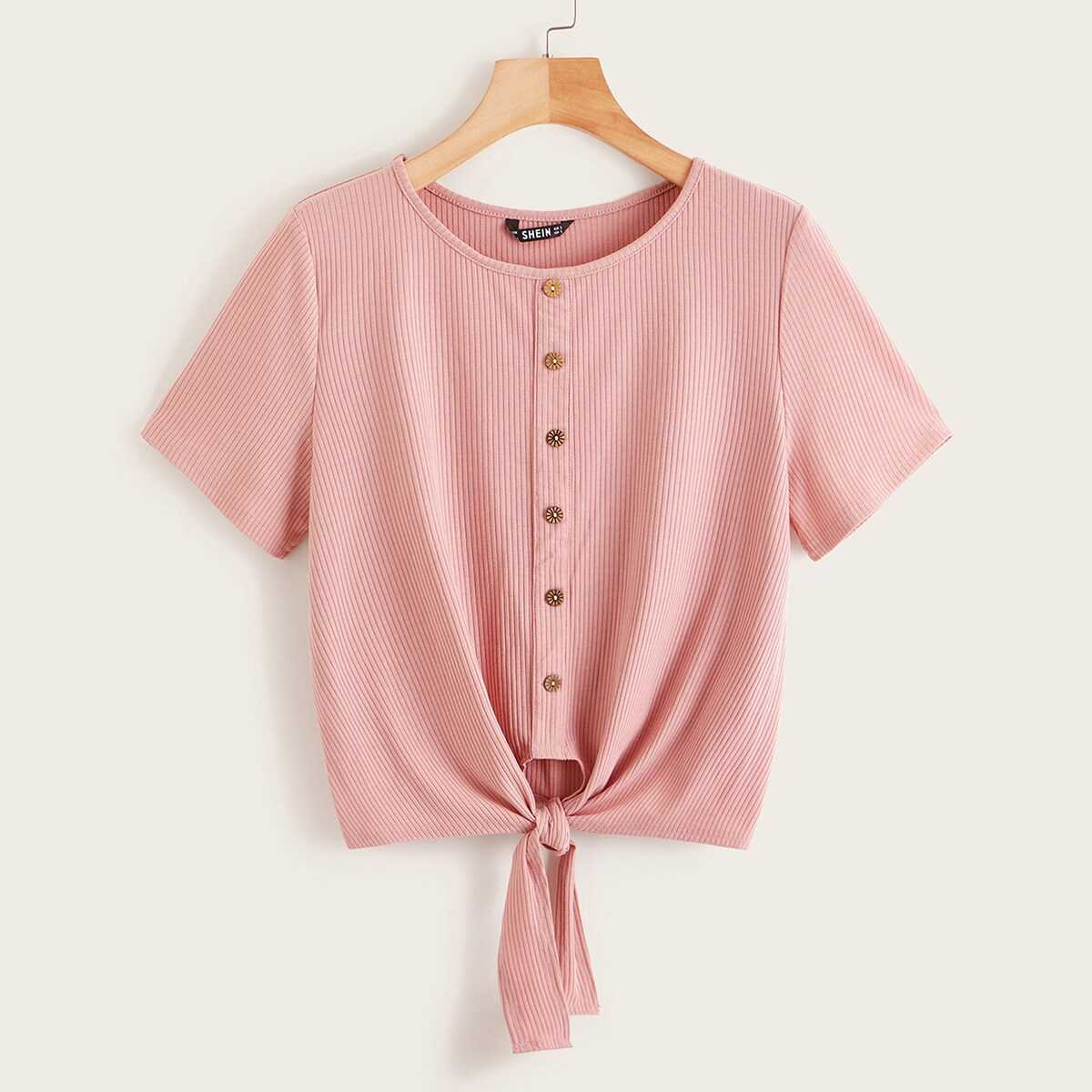 Button Front Knot Hem Ribbed Tee in Pink by ROMWE on GOOFASH
