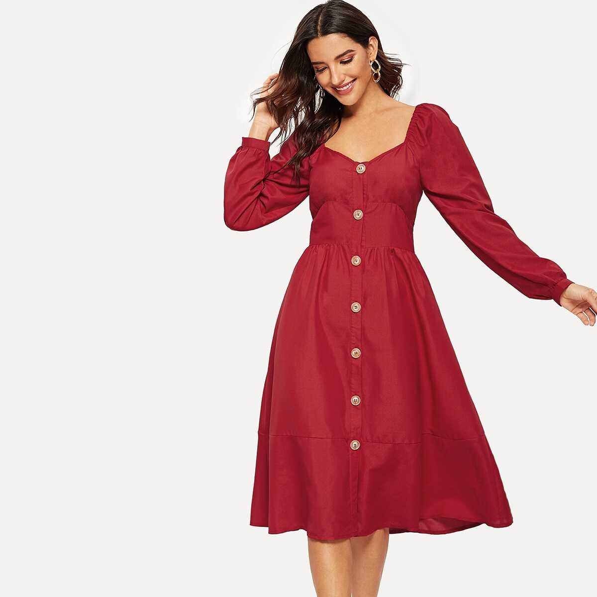 Button Up Solid Flare Dress - Shein - GOOFASH