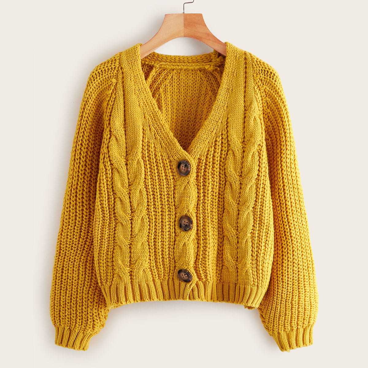 Cable Knit Button Through Solid Cardigan in Yellow by ROMWE on GOOFASH