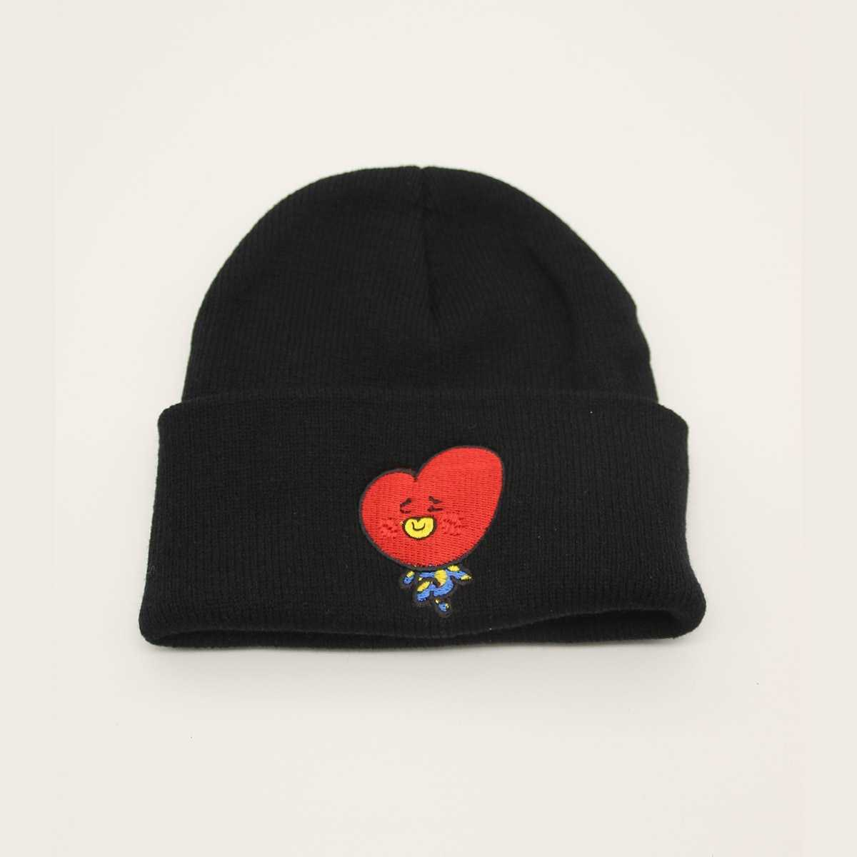 Cartoon Embroidery Cuffed Knit Beanie in Black by ROMWE on GOOFASH