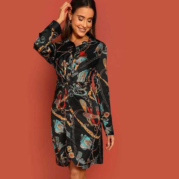 Chain Print Twist Front Shirt Dress - Shein - GOOFASH