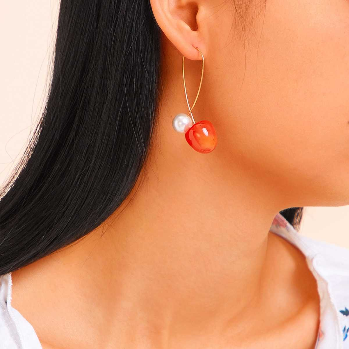 Cherry & Faux Pearl Earrings 1pair in Multicolor by ROMWE on GOOFASH