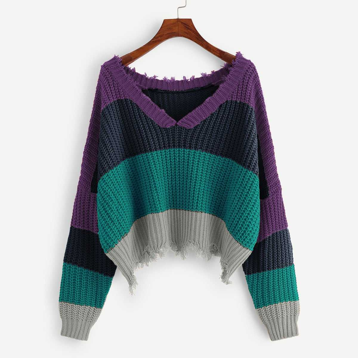 Color Block Raw Hem Sweater in Multicolor by ROMWE on GOOFASH
