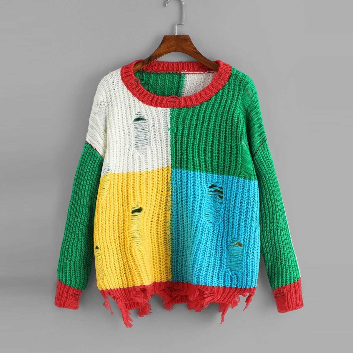 Color Block Ripped Jumper - Shein - GOOFASH