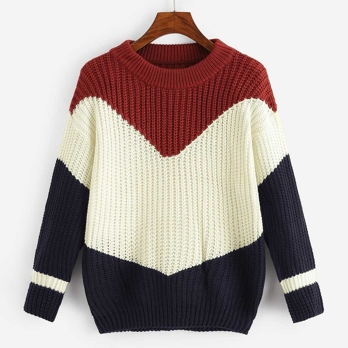 Color-Block Sweater in Multicolor by ROMWE on GOOFASH
