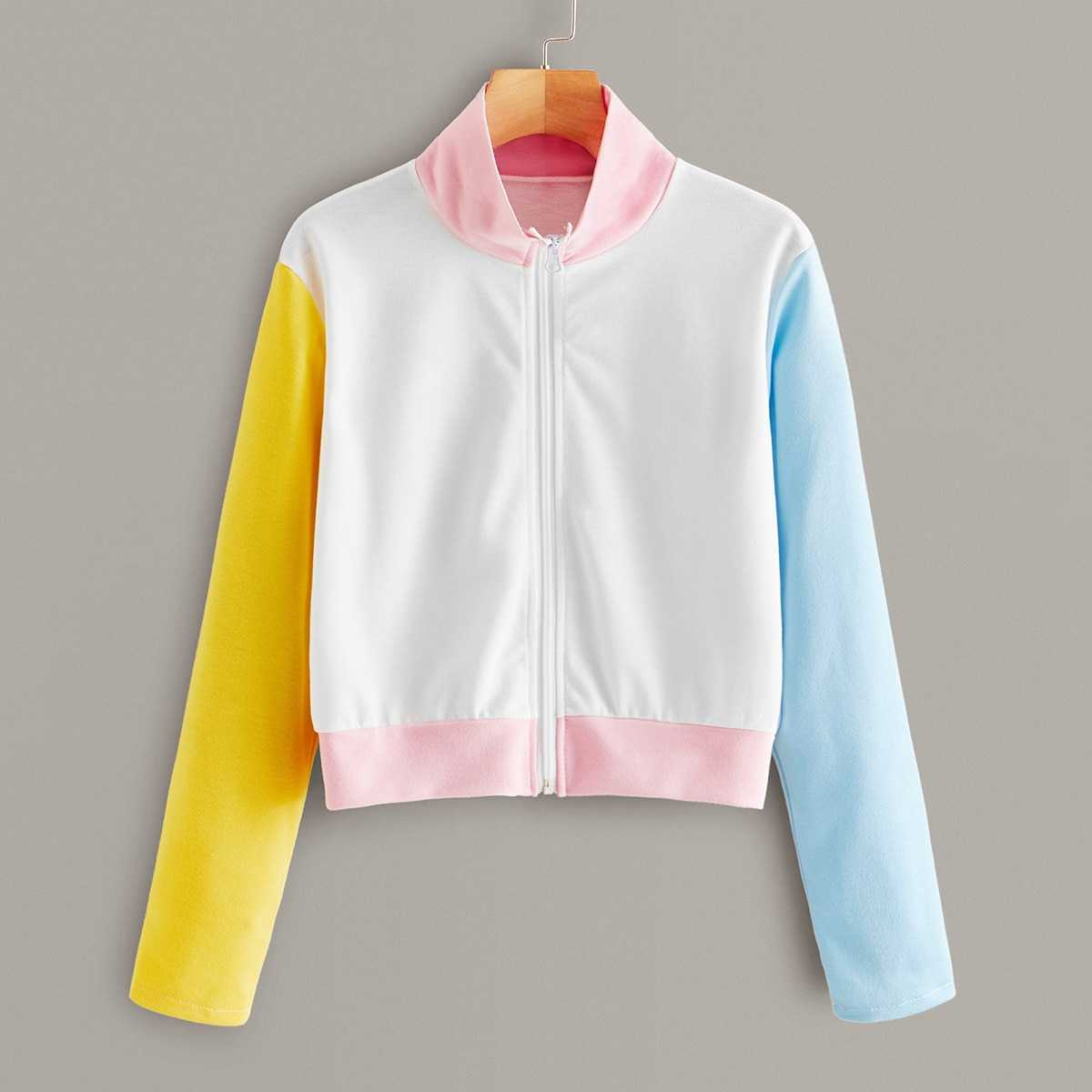 Color-block Stand Collar Zip-up Sweatshirt in White by ROMWE on GOOFASH