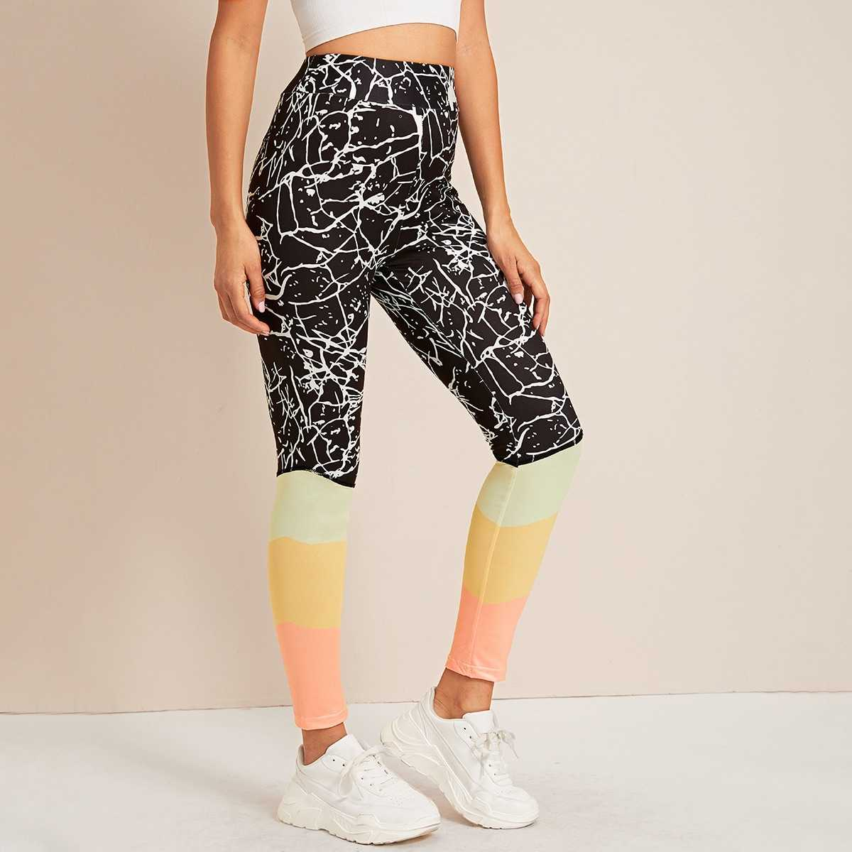 Color-block Wideband Waist Leggings in Multicolor by ROMWE on GOOFASH