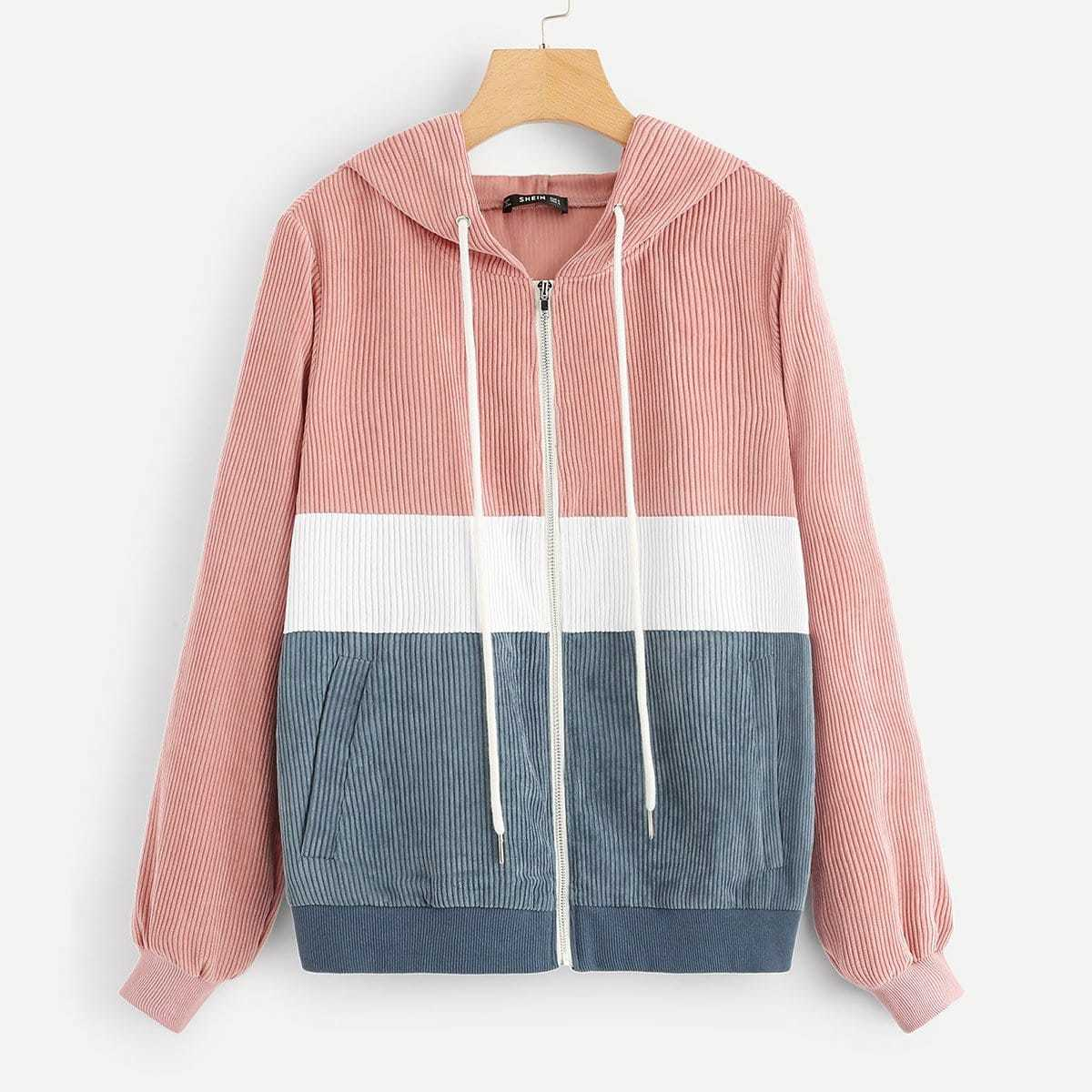 Colorblock Zip Front Drawstring Hooded Corduroy Jacket in Multicolor by ROMWE on GOOFASH