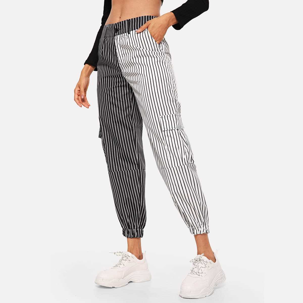 Contrast Panel Striped Pants in Black and White by ROMWE on GOOFASH