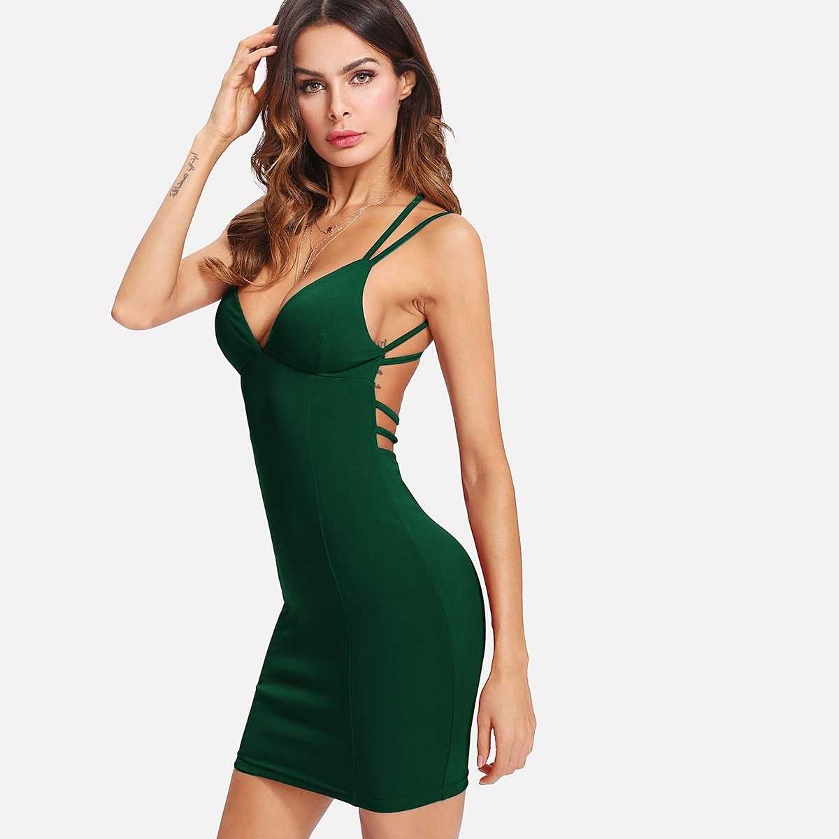 Criss-cross Strappy Back Bodycon Cami Dress in Green by ROMWE on GOOFASH