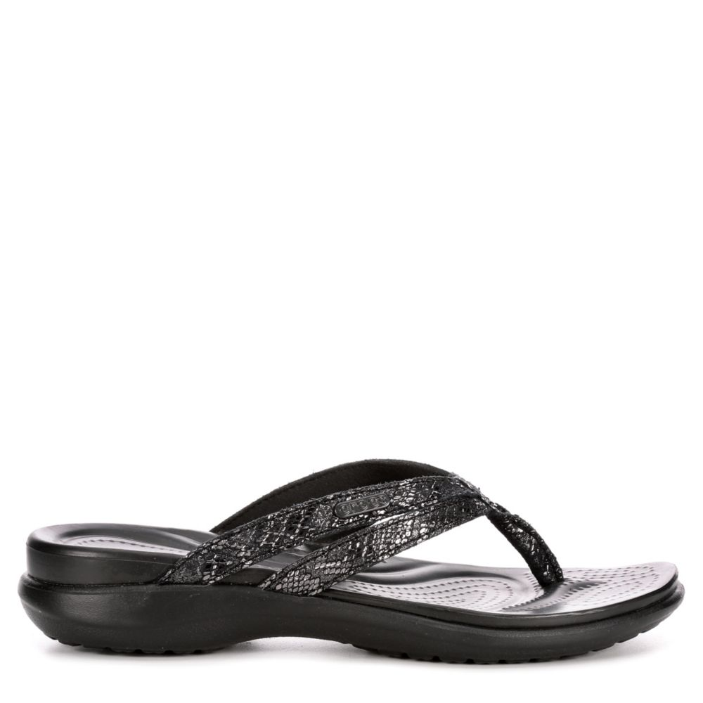 Crocs Womens Capri Strappy Flip Black USA - GOOFASH