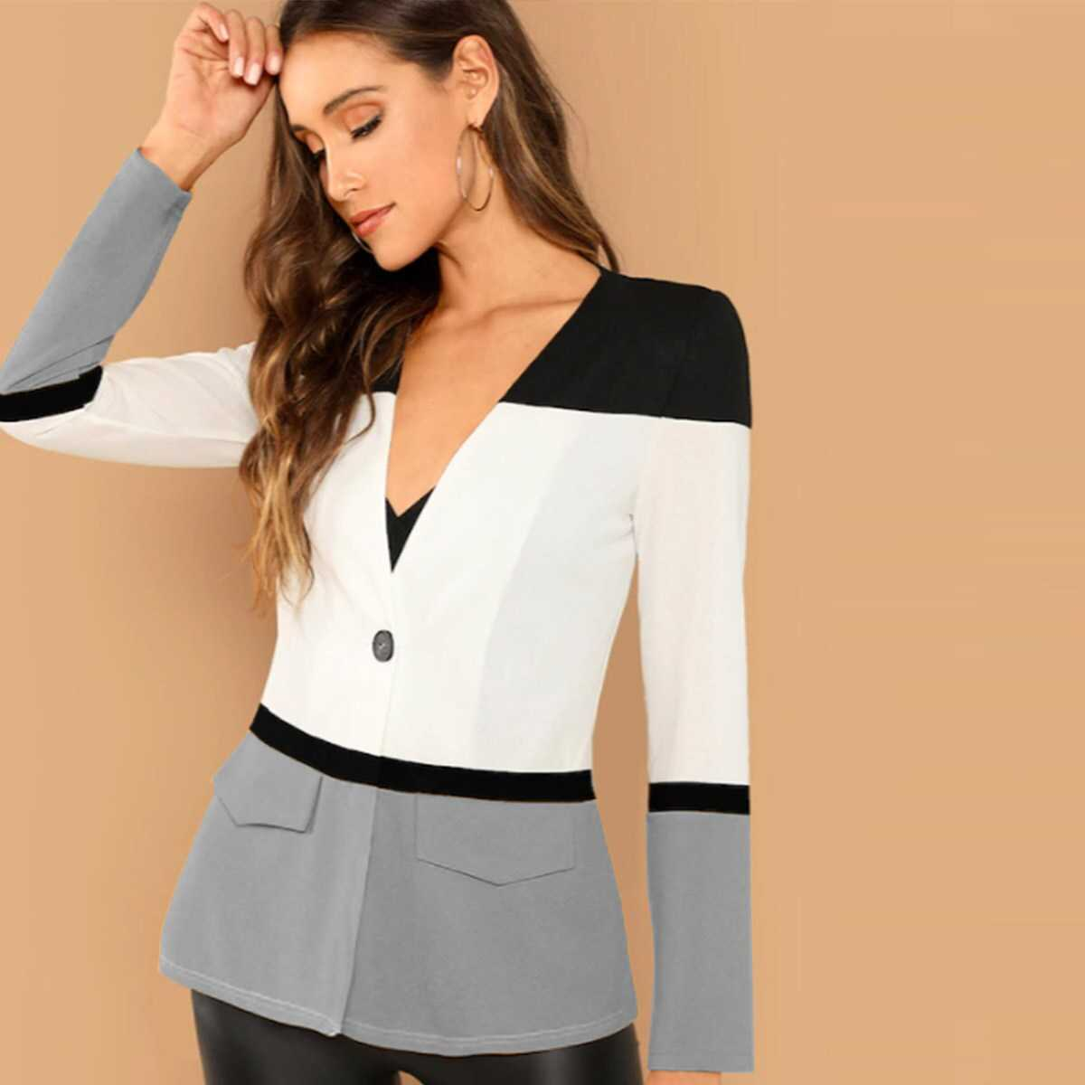 Cut-and-Sew Single Button Fitted Blazer - Shein - GOOFASH
