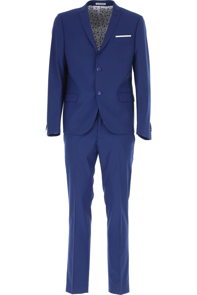 Daniele Alessandrini Men's Suit On Sale Bluette SE - GOOFASH