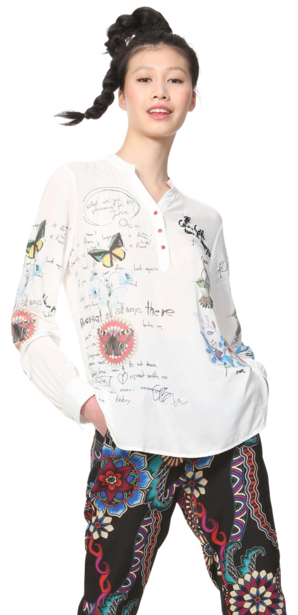 Desigual Daniela Blouse White UK - GOOFASH