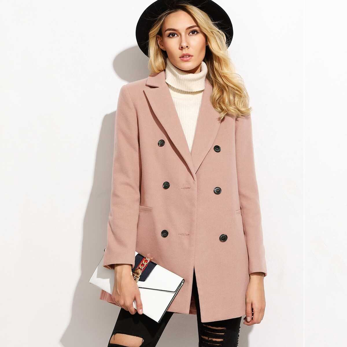 Double Breasted Notched Coat in Pink by ROMWE on GOOFASH