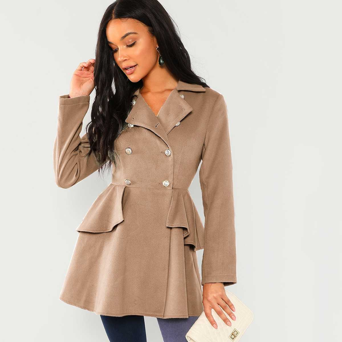 Double Breasted Ruffle Solid Coat in Khaki by ROMWE on GOOFASH