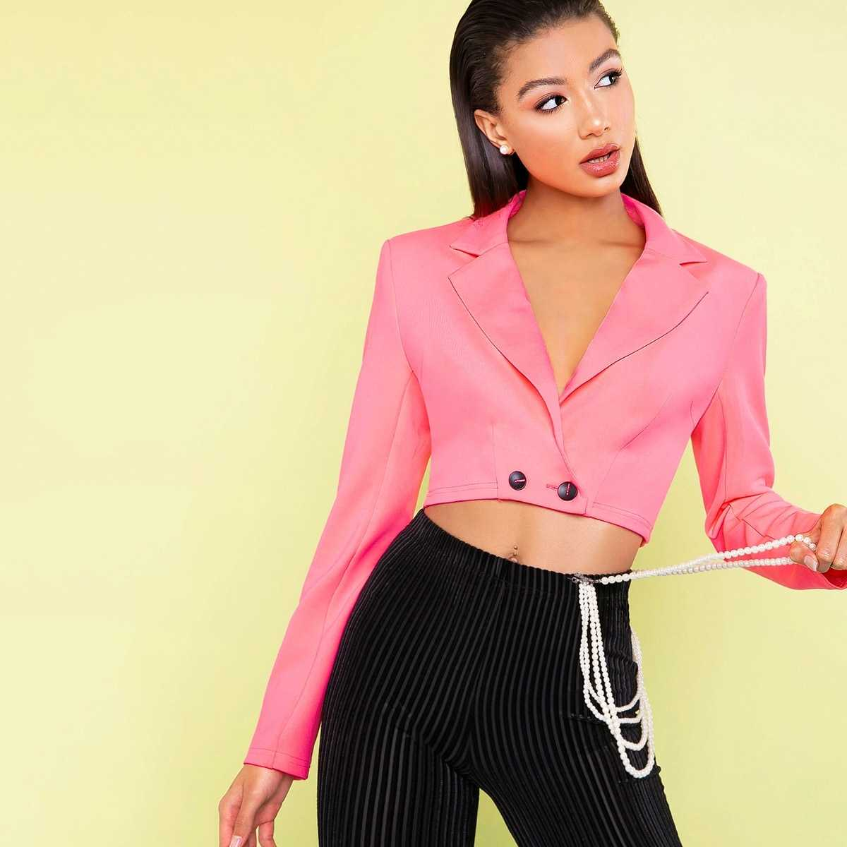 Double Button Crop Blazer in Pink by ROMWE on GOOFASH