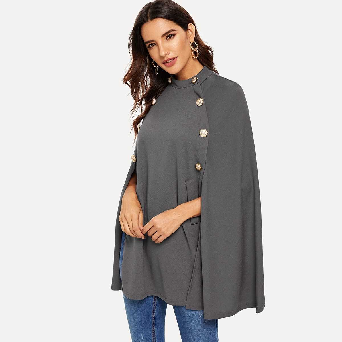 Double Button Mock Poncho Coat in Grey by ROMWE on GOOFASH